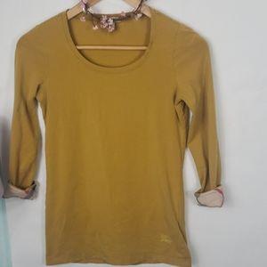Burburry Brit mustard yellow scoopneck shirt